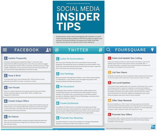 Social media insider tips by American Express Merchant Services.